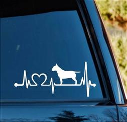 Bull Terrier Heartbeat Monitor Decal Sticker for Car Window