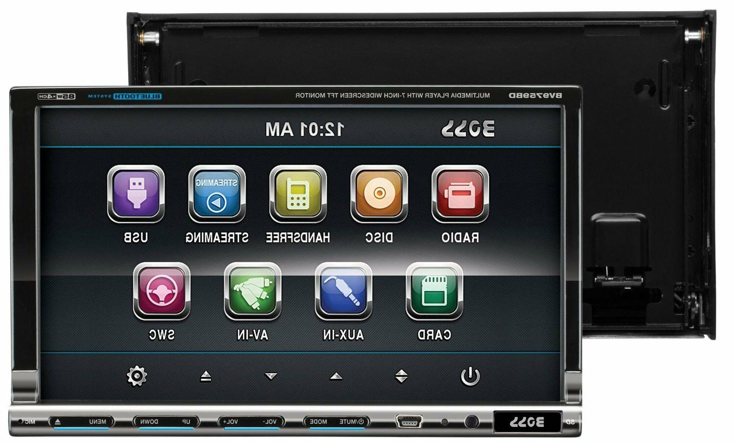 Boss Audio BV9759BD Double-DIN 7 inch DVD Receiver, Bluetooth, Detachable Front Panel, Remote - DVD-RW, CD-RW - MP4 WMA AM, - SD - - Auxiliary In